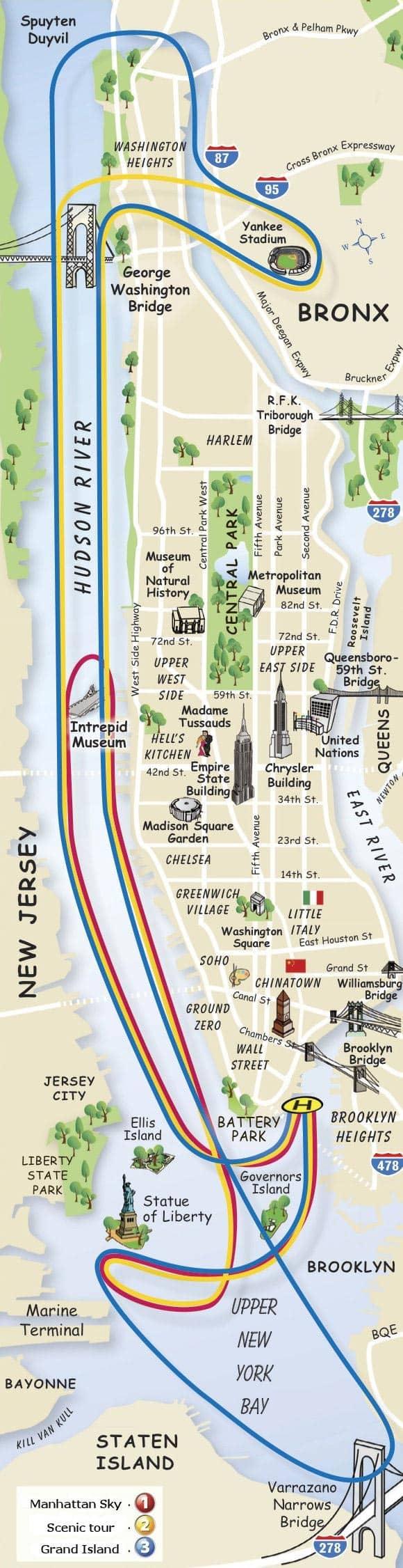 New Yorkin helikopterilennon reittikartta