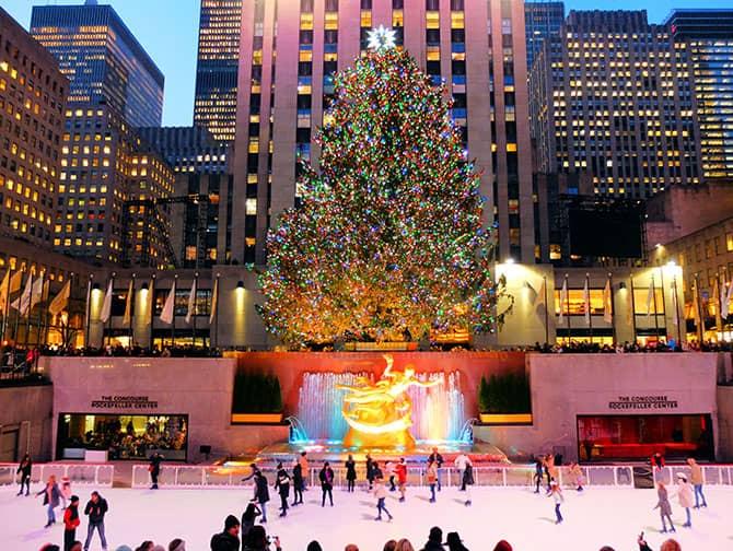 Luistelu New Yorkissa - Luistelua Rockefeller Centerissä