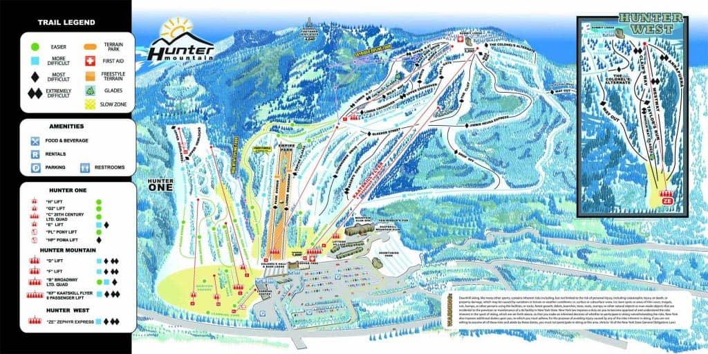 Reittikartta Hunter Mountain New York