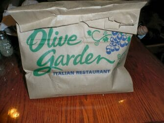 Doggy Bag New Yorkissa Olive Garden