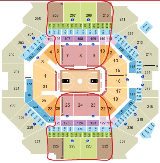 Brooklyn Nets liput - Barclays Center Katsomokartta