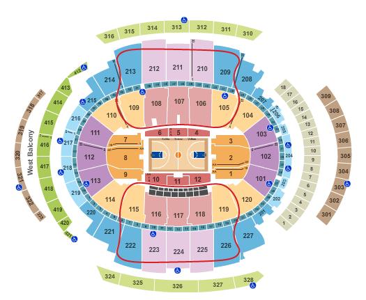 New York Knicks -liput - Madison Square Garden Katsomokartta