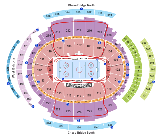 New York Rangers -liput - Madison Square Garden Katsomokartta