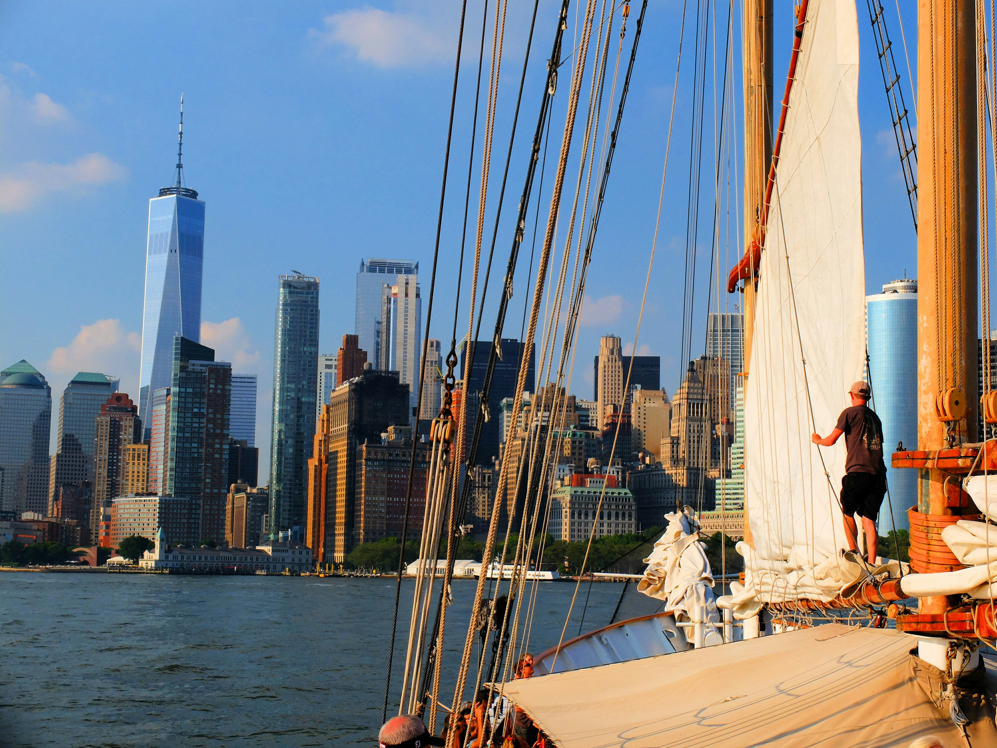 View Downtown New York from Sailboat High Quality Wallpaper