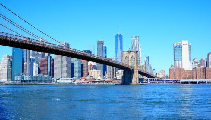 Manhattan in New York Brooklyn Bridge